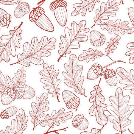 Seamless pattern of oak leaves and acorns. Autumn line drawing. Vector