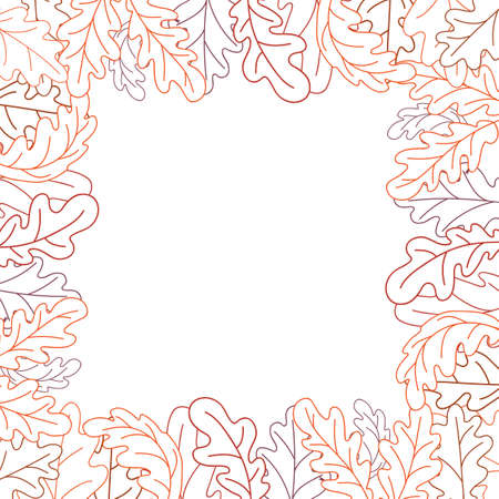 Square frame of oak leaves. Line drawing.
