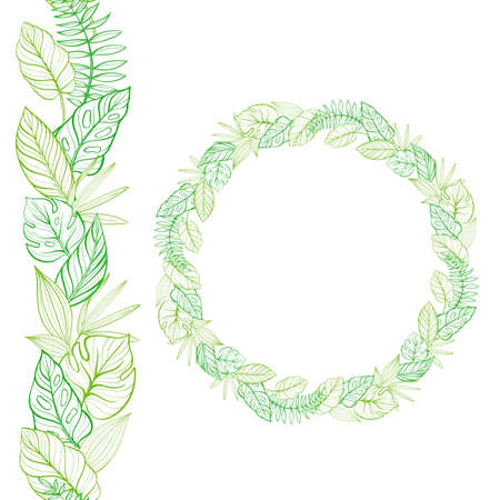 Set of seamless border and round frame. Hand-drawn tropical leaves. Template. Vector illustration Illusztráció