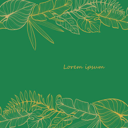 Postcard template with tropical leaves. Linear illustration. Hand-drawn picture.