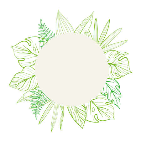 Round frame with tropical leaves. Template for your postcard. Hand-drawn linear illustration.