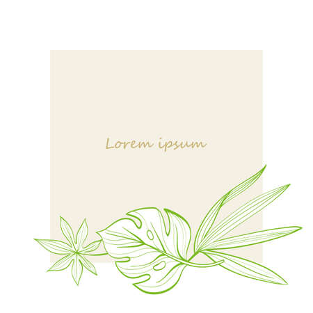 Frame with tropical leaves. Postcard. Hand-drawn illustration. Line drawing Illusztráció