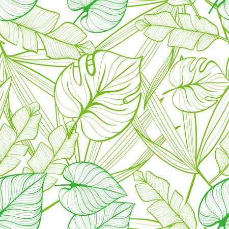 Motivo floreale senza soluzione di continuità con foglie tropicali. Linea di disegno. Illustrazione disegnata a mano. Vettoriali