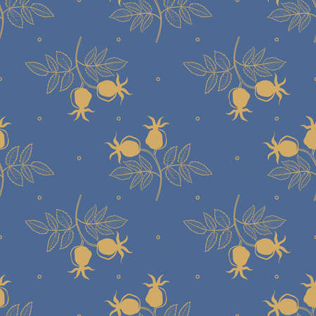 Seamless pattern of rosehip leaves, flowers and berries on blue background. Autumn background.
