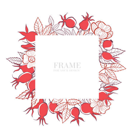 Square frame with flowers, leaves and rosehip berries. Hand-drawn