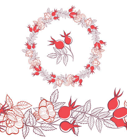 Round frame of leaves and berries of wild rose. Template for your postcard. Hand-drawn linear illustration. Illusztráció