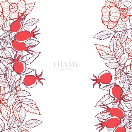 Frame of berries and leaves of wild rose. Stylized card for your design. Hand-drawn illustration. Illusztráció
