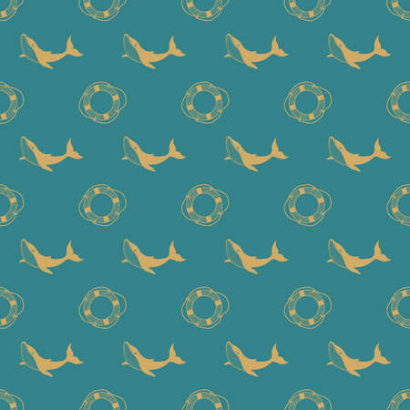 Seamless pattern with whale and lifebuoy. Marine background for packaging. Linear illustration. Illusztráció