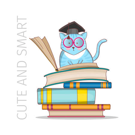 Smart cat with glasses on a stack of books. The kitten is learning. Hand-drawn illustration.