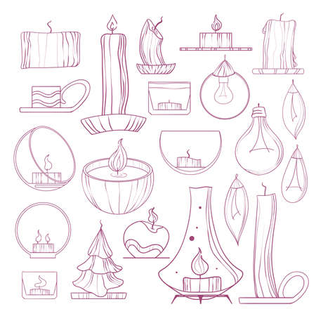 Set of candles, candlesticks and lamps. Hand-drawn illustration. Sketch.