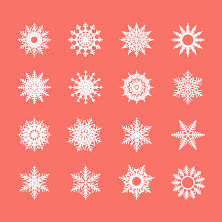 Set of snowflakes and stars. Vector illustration.