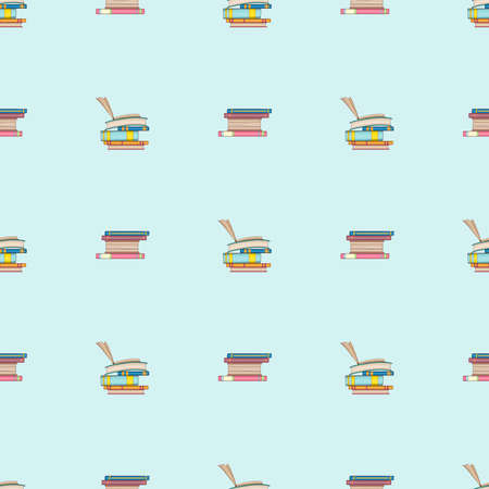 Seamless pattern of books. Doodle illustration. Cartoon background. Hand-drawn Vector.