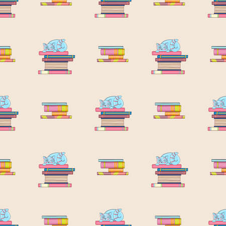 Seamless pattern of books and cute clever cats. Doodle illustration. Cartoon background. Vectores