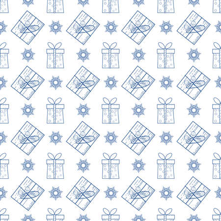 Seamless Christmas and new year with gifts and snowflakes. Hand-drawn illustration. Background for wrapping paper