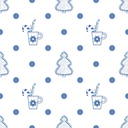 Seamless Christmas and new year pattern with snowflakes, gingerbread, candy and other objects. Hand-drawn illustration. Background for wrapping paper Illusztráció