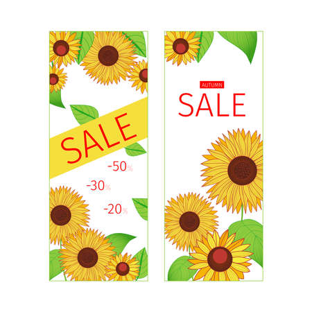 Set of autumn banners with leaves and sunflowers. Sale. Template for your design. Hand-drawn illustration.