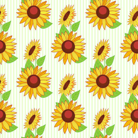 Seamless autumn pattern of sunflowers. Background for your design. Hand-drawn illustration. Vector.