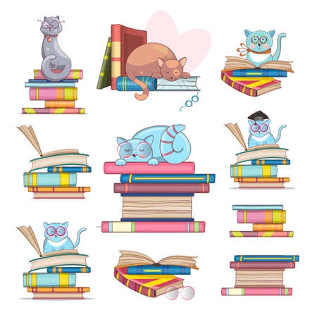 Set of smart cats with glasses and books. Hand-drawn illustration. Cute drawings for your design. Vector