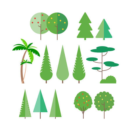 Set of trees in flat style - Palm tree, spruce, fir-tree, pine.