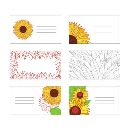 Set of templates for tags and business cards. Autumn motif with sunflowers. Hand-drawn illustration. Vector.