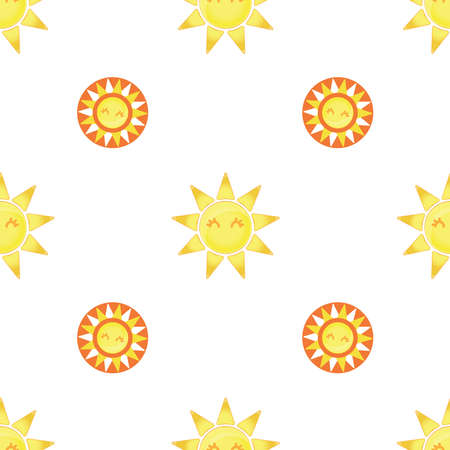 Seamless pattern with cute cartoon suns on a light background. Symmetrical pattern.