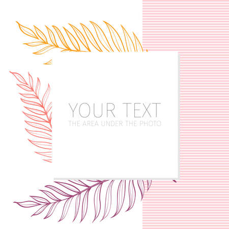 Postcard template with tropical leaves. Linear illustration. Vector background