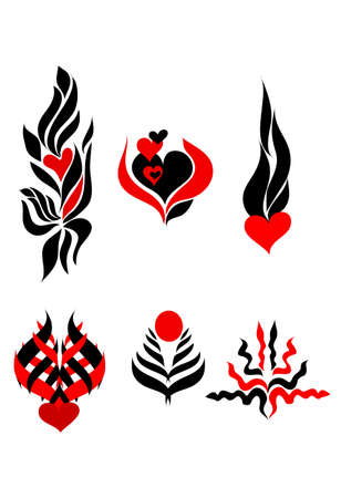 filings: abstract red black  tattoo print  Illustration