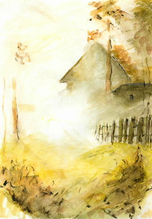 recluse: Single house in the autumn thick fog .