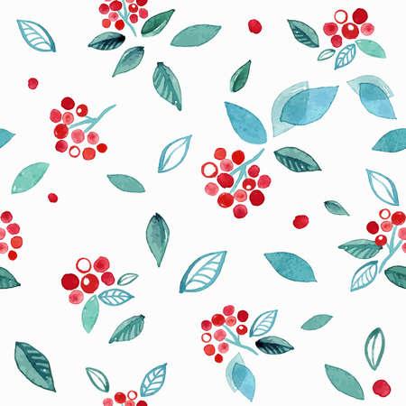 Patrón de acuarela con ramas rowanberry. Invierno lindo Foto de archivo - 89915284