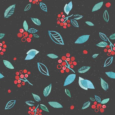 Aquarela sem costura padrão com ramos de rowan berry. Fundo de giro mão desenhada de inverno. Cinza escuro com cores vermelhas brilhantes de desenho. Foto de archivo - 89929243