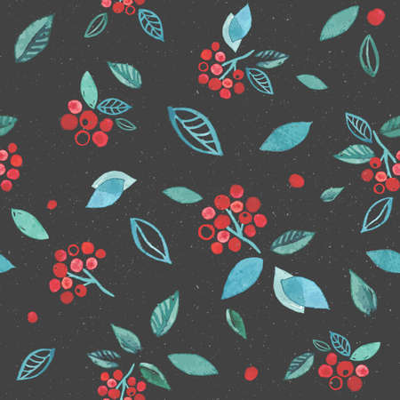 Watercolor seamless pattern with branches rowan berry. Winter cute hand drawn background. Dark gray with bright red colors drawing. Vectores