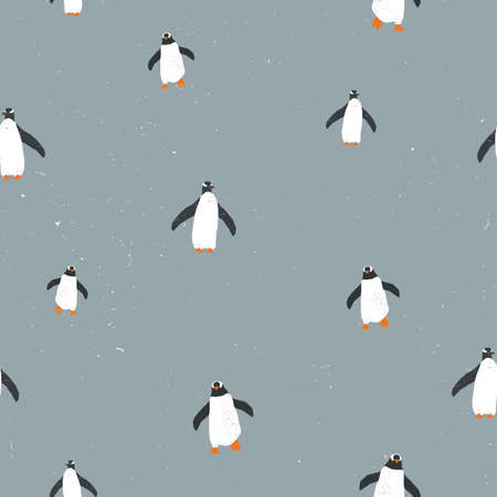 Vector seamless graphic pattern with penguins and grunge texture and snow on background. For placards, brochures, posters, greeting cards, fabrics. Ilustração