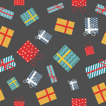 Graphic gift seamless presents cute pattern with grunge texture. Christmas, holidays, winter background for any paper design, packaging or textile fabrics.