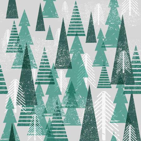 Patrón de bosque de invierno vector inconsútil. Fondo de Navidad. Árboles verdes en las nubes Grunge textura elementos simples gráficos. Ilustración de vector
