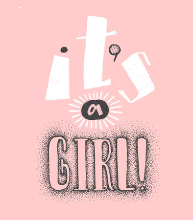 Its a girl Creative Handwritten lettering for baby shower. Pink background and white and black lettering. Cute colored vector invitation for a wonderful event. Illusztráció