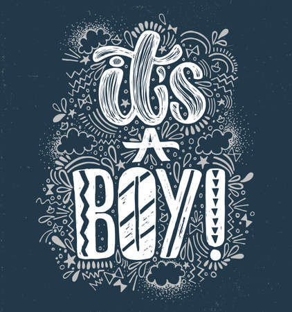 Its a boy Baby shower boy poster hand written lettering. Blue background and white lettering. Cute colored vector invitation for a wonderful event.