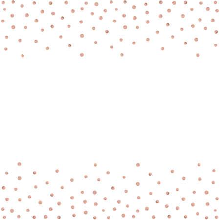 Rose gold glitter beautiful fashion background polka dot vector illustration. Pink golden dots confetti frame.