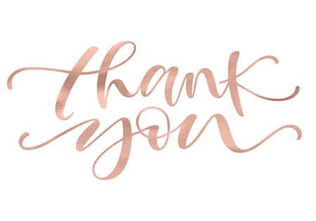 Dziękuję Ci. Napis z nowoczesną ręką piszącą kaligrafię w modnym kolorze złotej róży. Ilustracji wektorowych. Ten projekt koncepcyjny karty z podziękowaniem, banera lub reklamy Ilustracje wektorowe
