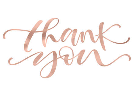 Thank you. Lettering with modern hand writing calligraphic with golden rose trendy color. Vector illustration. This concept design for thank you card, banner or advertising