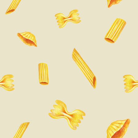 Seamless pattern with italian pasta elements. Hand drawn with pencil texture. Kitchen surface design for napkins, kitchen towels, wrapping paper, wallpaper