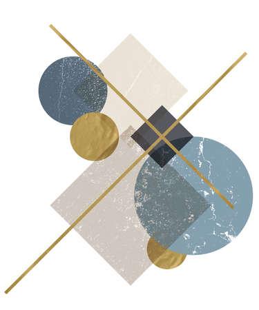 Abstrakcyjna kompozycja dekoracyjnych form geometrycznych z grunge tekstur i złotymi modnymi teksturami.