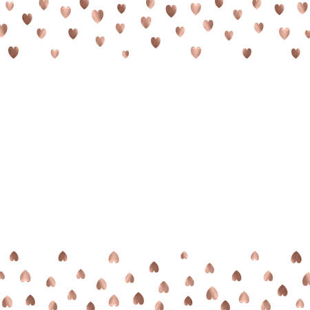 Rose gold glitter beautiful fashion romantic background polka hearts vector background. Pink golden dots confetti frame. Vettoriali