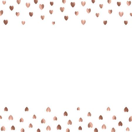 Rose gold glitter beautiful fashion romantic background polka hearts vector background. Pink golden dots confetti frame. Illustration