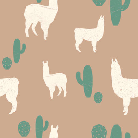 Llama seamless pattern. Grunge texture silhouette of animal background. Minimalistic graphic design.