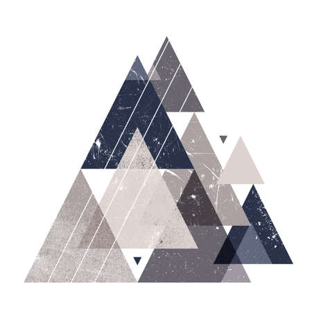 Abstract trendy composition with decorative triangles and grunge texture. Geometric modern composition.