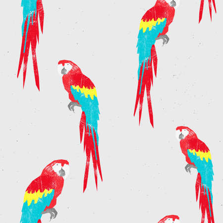 Parrot vector art background design for fabric and decor. Seamless pattern. Grunge texture illustration. Stock Photo