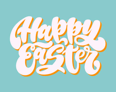 Happy Easter. Handwritten lettering phrase with 3d shadow. Graffiti calligraphic written style. Holiday poster, print, banner, wallpaper. 일러스트