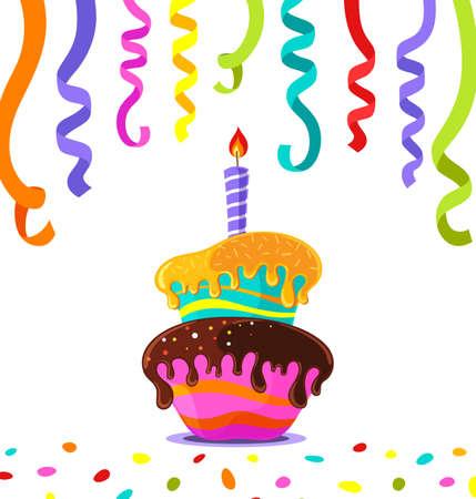 Birthday Cake, colored confetti ribbons