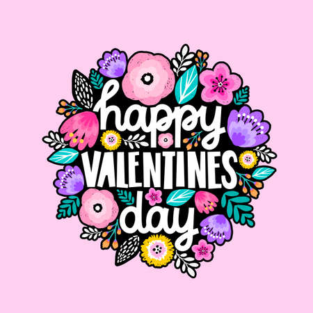 Happy Valentines Day typography poster with handwritten calligraphy text, floral ornament. Çizim