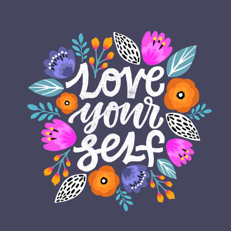 Modern Brush Calligraphy, Love yourself Hand Lettering Simple Quote Çizim